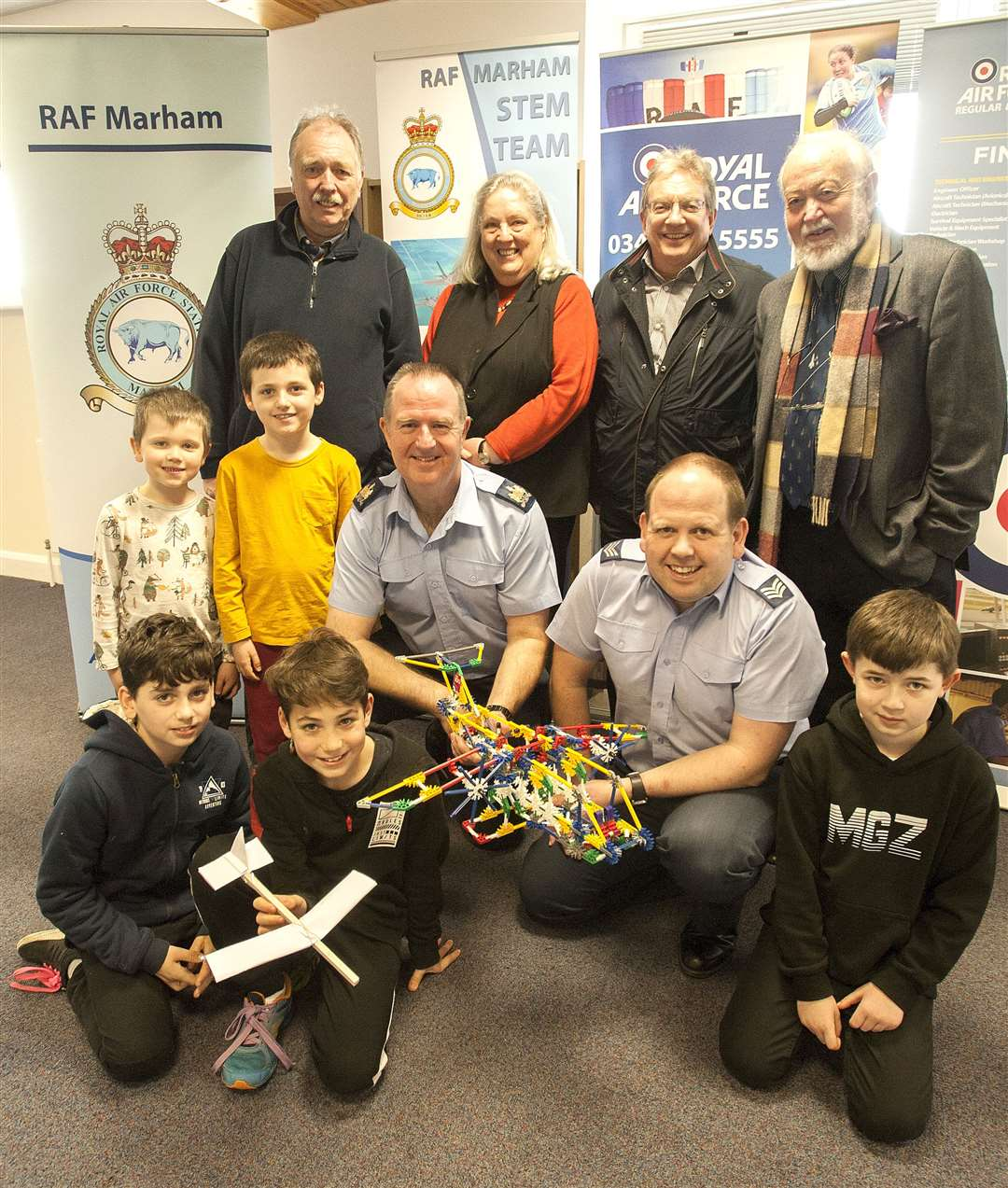 "Downham Market Launch of Clackclose Hundred Community Benefit Society with ""Step into Flight""event Pictured in centre left R.A.F Marham Warrent Officer Mo Howard. SgtDan Hardwick. with organisers and participants.. (8362230)"