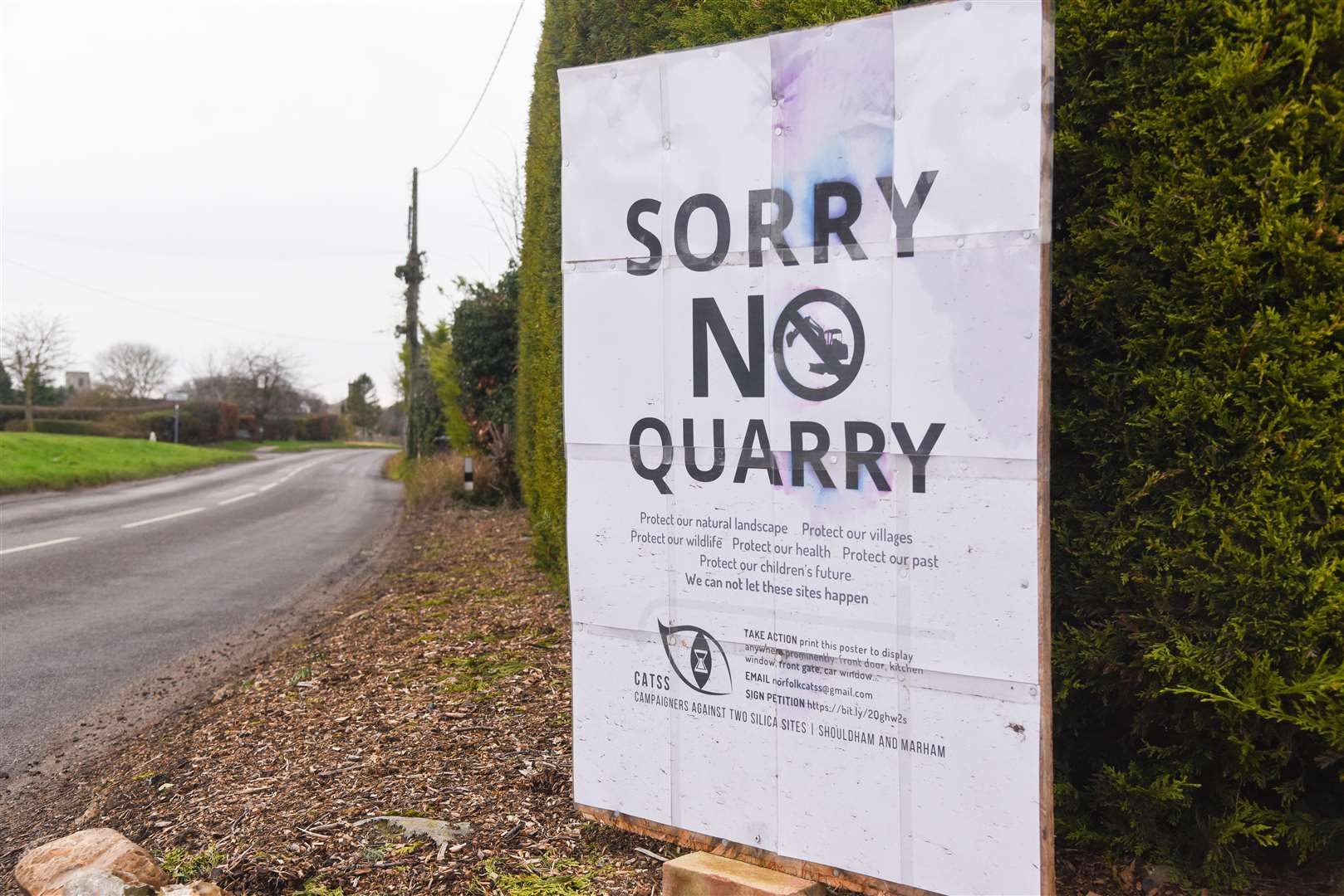 Sorry No Quarry signs have been put up by villagers in Marham