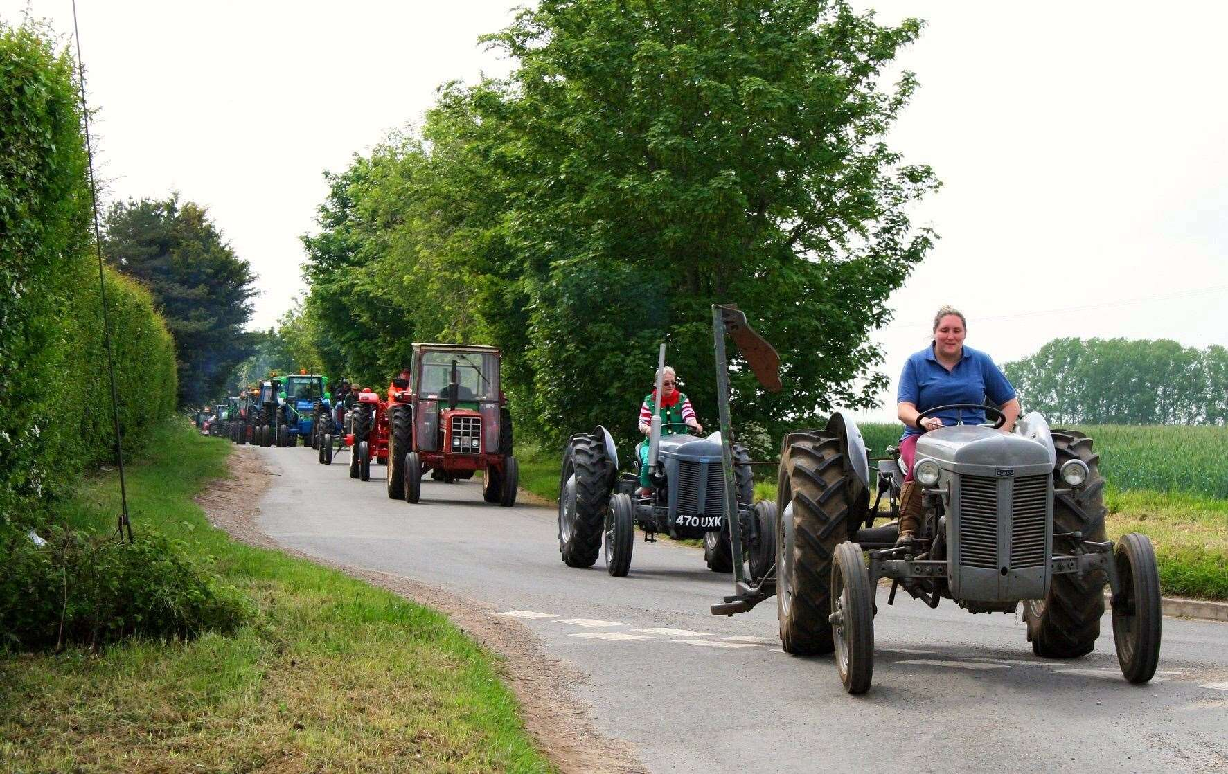 A rural convey on the Methwold Tractor Run (11453105)