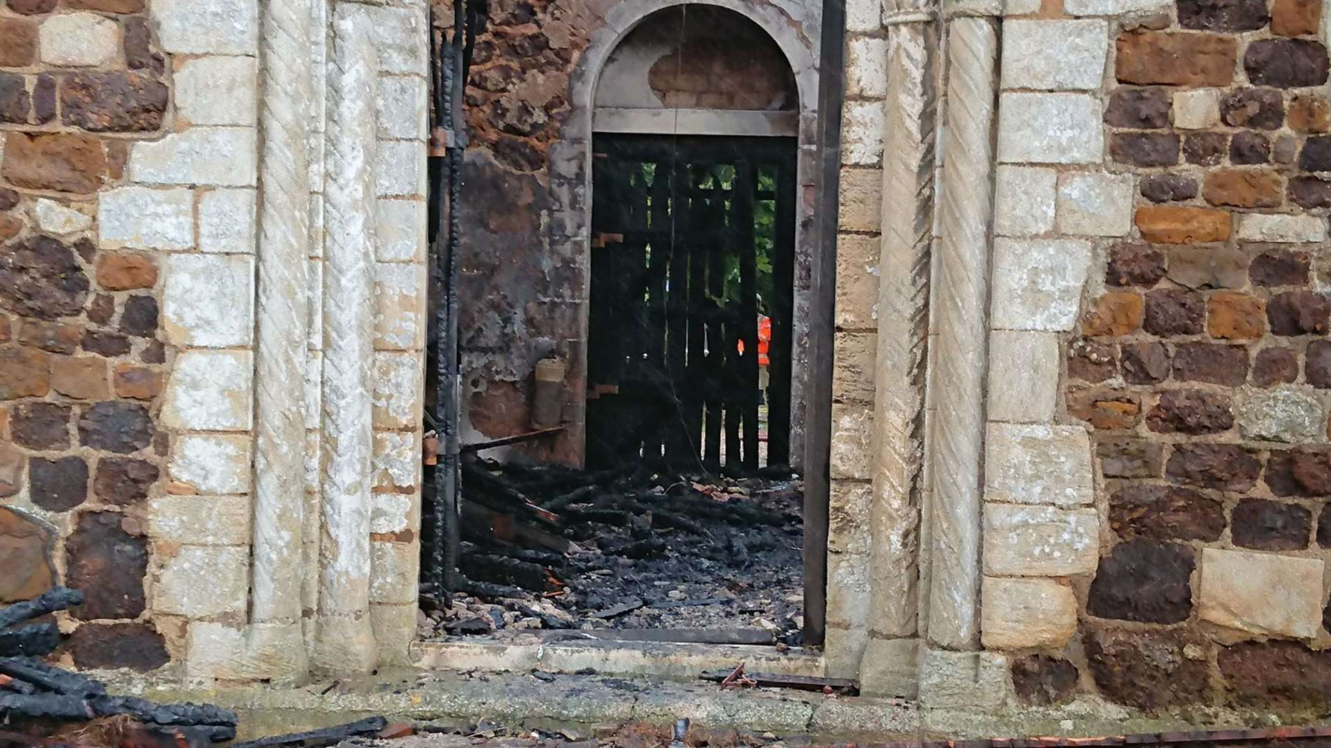 The inside of the church has been gutted by flames
