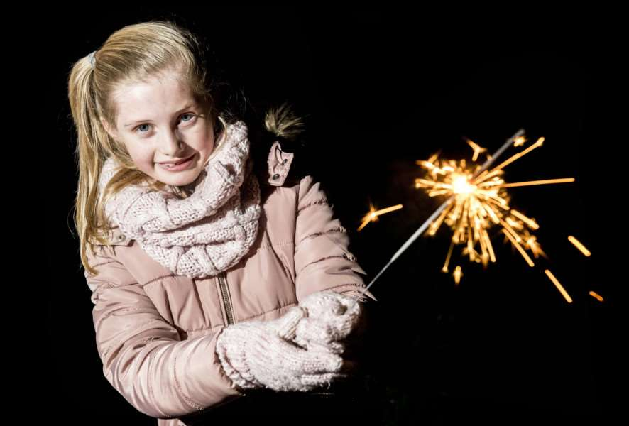 "Scenes from the Fawkes in The Walks 2017 firework display in King�""s Lynn - Isla Atterssall (7) with her sparkler."