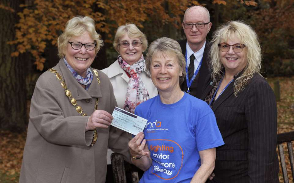 �5,000 cheque pres to Motor Neurone Disease Association from the Mintlyn Crematorium.'Borough Mayor Cllr Carol Bower (left) making the presentation to Jane Lewis (centre) and Jill Brock (2nd left) from the King's Lynn branch of MNDA Motor Neurone Disease Association, also in picture (far right) are David Clayton (Cemeteries and Crematorium Manager) and Bev Mitchell (Assistant Cemeteries and Crematorium Manager)