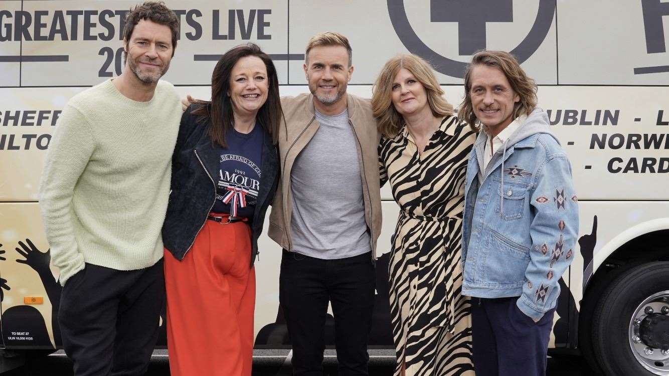 Tracey Curson and (right) Tracey Hornigold with Take That members (from left) Howard Donald, Gary Barlow and Mark Owen