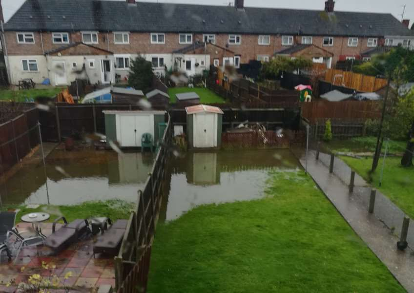 Flooding in gardens in Townshend Terrace, North Lynn. Photo: SUBMITTED.