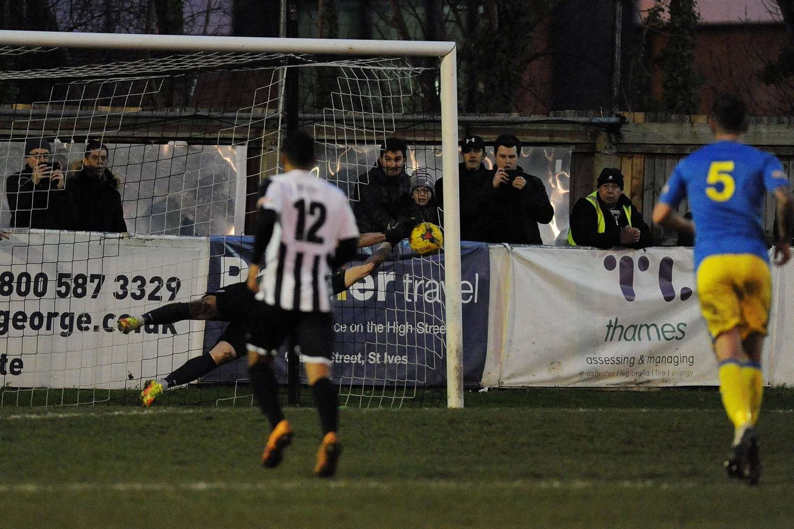 Goalkeeper Alex Street saves Jake Newman's late spot-kick. Picture: TIM SMITH (6790762)
