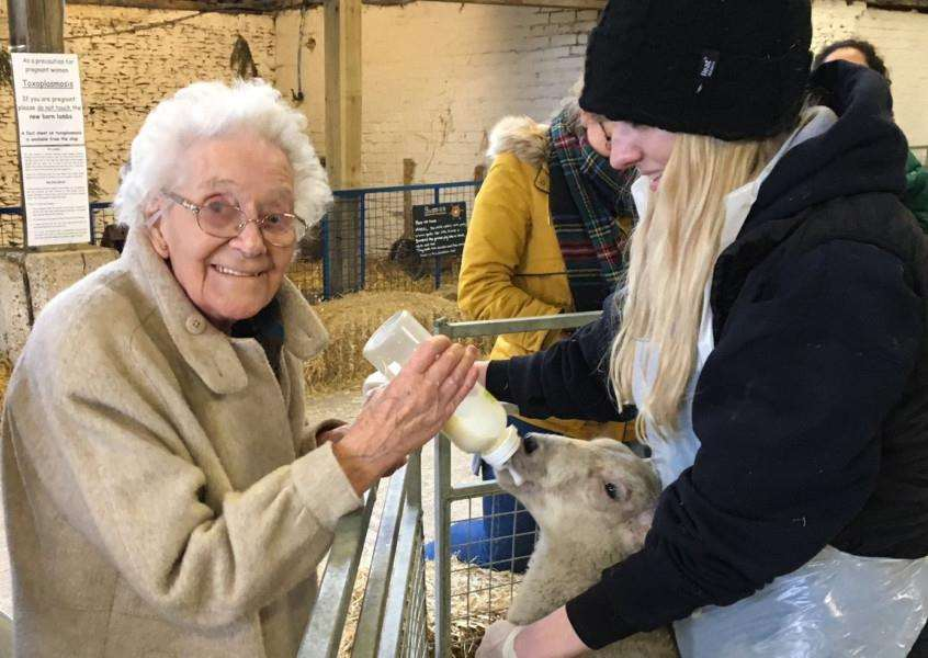 Downham Grange visit to Church Farm - resident Mary Overman feeding a lamb. Photo: SUBMITTED.