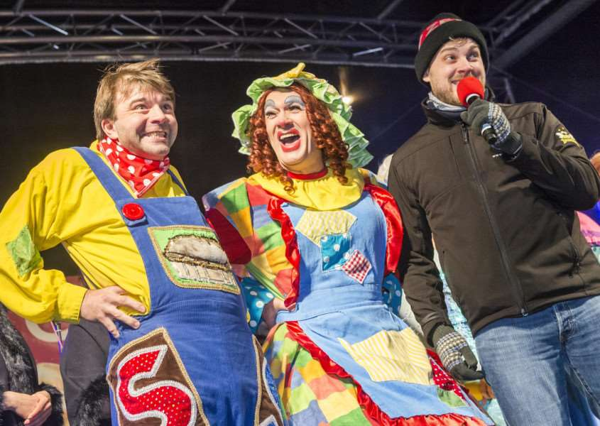 "Scenes from the King�""s Lynn Chirstman Lights Switch On 2017 - Memebers of the cast from Jack and the Beanstalk on stage."