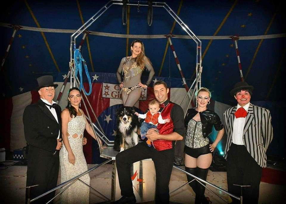 Circus Ginnett, based in Tilney St Lawrence, who are calling for more support during the coronavirus pandemic. The picture shows a group photo of the circus crew before lockdown - from left, Lui and Eva, Vader the dog, Lisandra, Logan, Patrick Austin, Maria and Jerry the clown. Picture: SUBMITTED. (38140574)