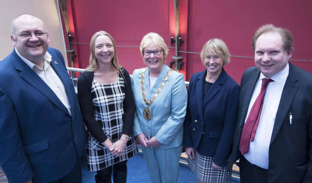 Launch Of the Mayors' Business Awards at King's Lynn Corn Exchange. Pictured FLtoR Brian Long (Leader of West Norfolk Borough Council) Sharon Edwards (Mapus.Smith.Lemon.) King's Lynn Mayor Carol Bower. Alison Richardson (Brown & Co) Mark Leslie (Ediitor of The Lynn News)