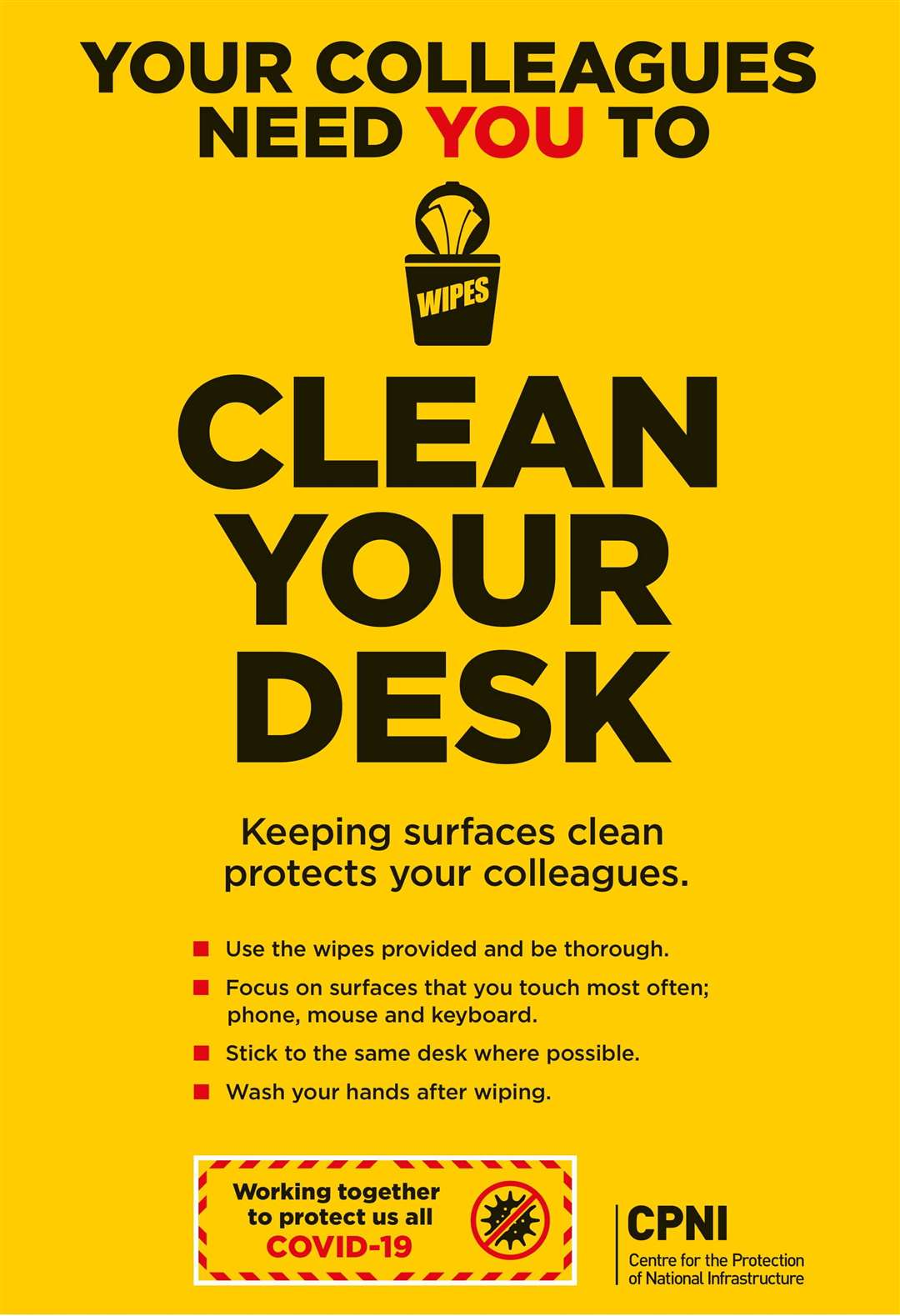 One of the advice posters calls on workers to clean their desks thoroughly
