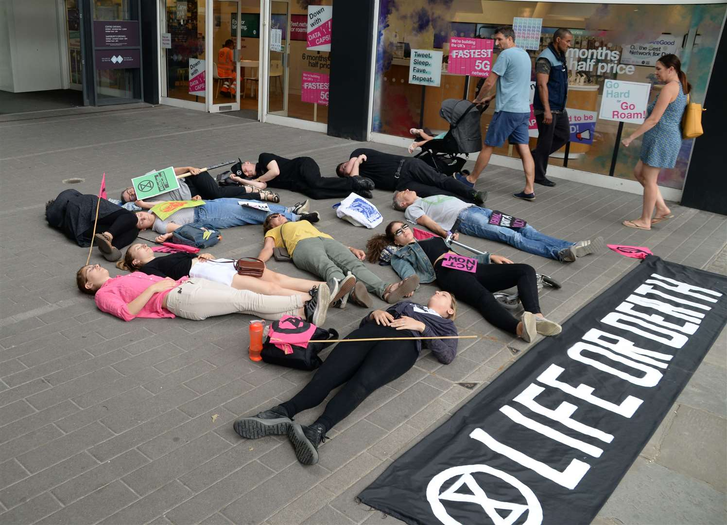 Extinction Rebellion Group take part in a 'Die-in' to publicise their cause. Picture: Vikki Lince