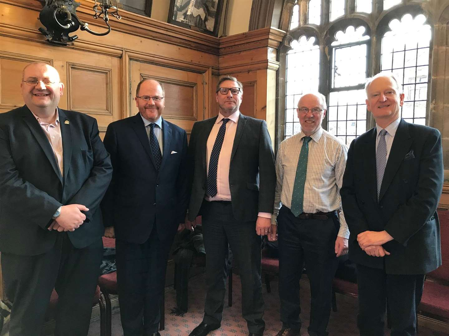 From left, West Norfolk Council leader Brian Long, Mid-Norfolk MP George Freeman, Cambridgeshire and Peterborough mayor James Palmer, A47 Alliance chairman Martin Wilby and North West Norfolk MP Sir Henry Bellingham at the meeting in Lynn Town Hall (7290539)