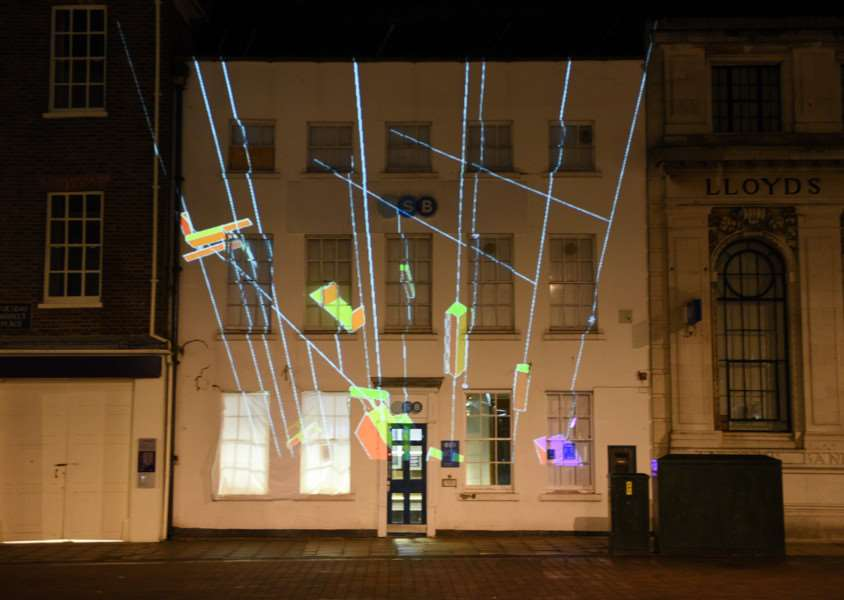 Collusion projections in Kings Lynn ''Voyager by Elements (Greyfriars Tower)