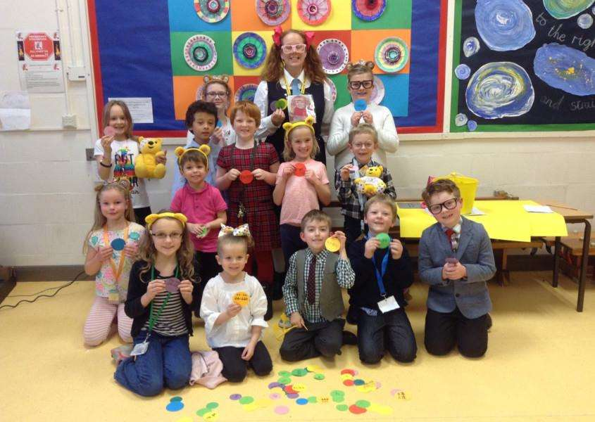 Pupils at Nelson Academy in Downham Market dressed up for Children in Need. Photo: SUBMITTED.