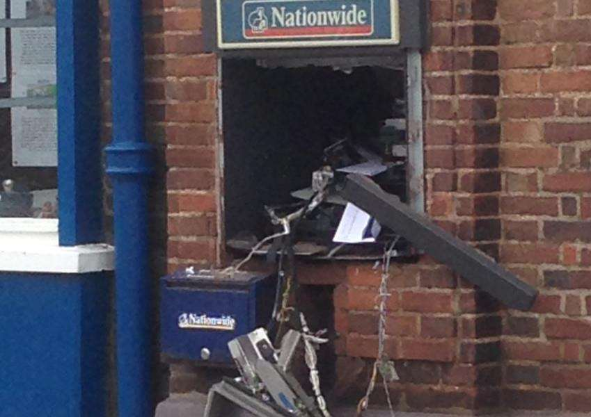 Damage caused following a raid on the Nationwide Building Society branch in Greevegate, Hunstanton