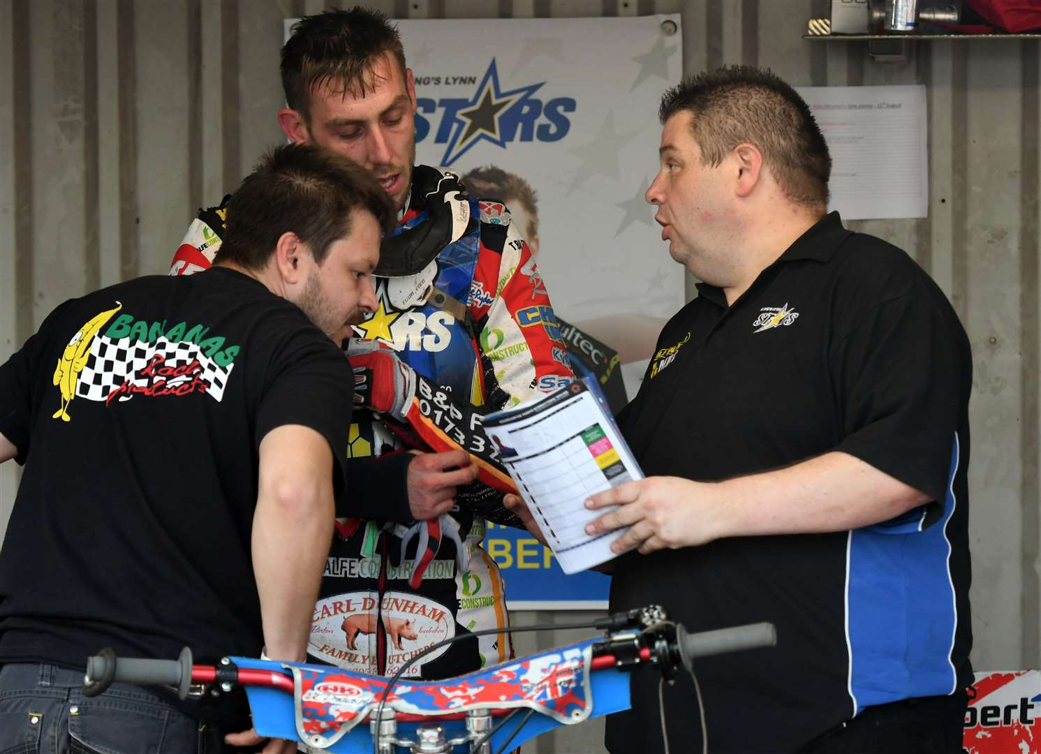Lynn Stars team boss Dale Allitt gives out instructions in the pits during the recent home meeting against Wolverhampton Wolves.