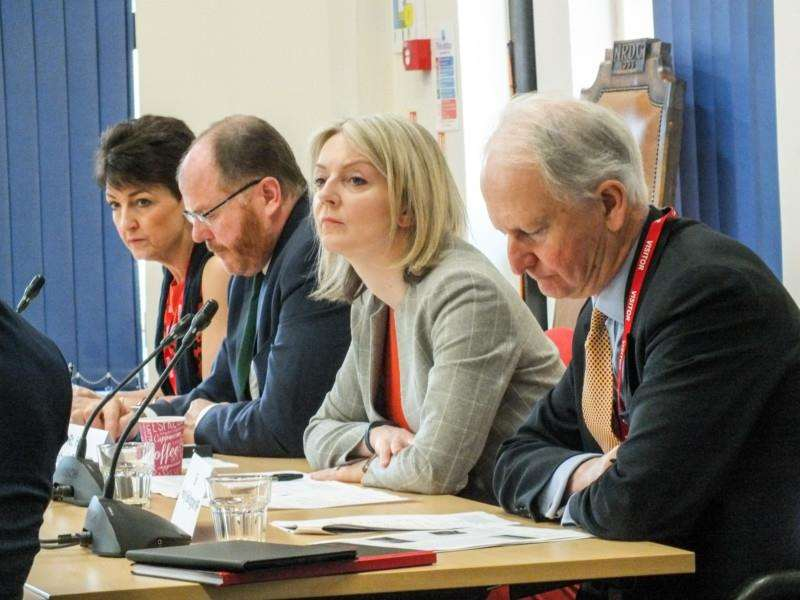 MPs from left: Jo Churchill, George Freeman, Elizabeth Truss and Sir Henry Bellingham all attended the Ely rail summit to discuss progress on the Ely North junction scheme.