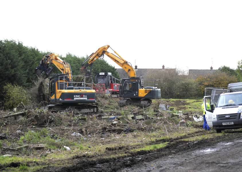 Work underway on land at the end of Salters Road, off Columbia Way North Lynn