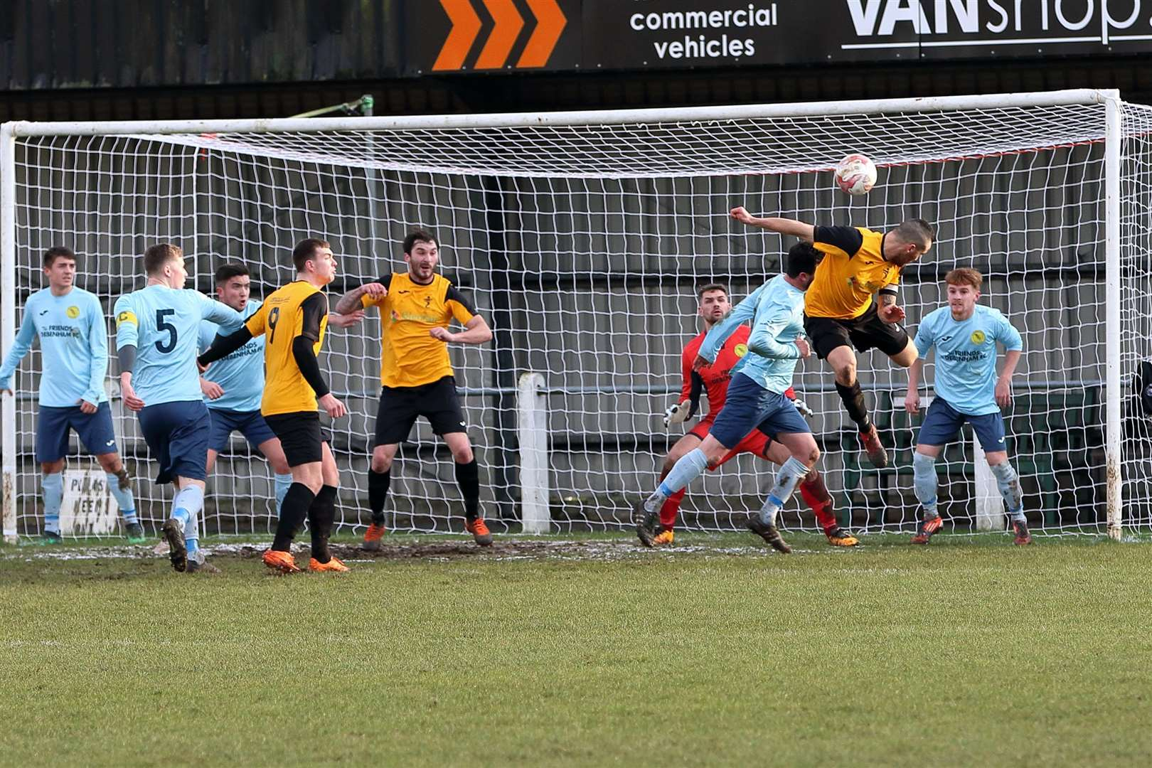 Matty Franks heads home Fakenham's second goal from a near-post corner. The Ghosts won 4-0 at home to Debenham LC to go sixth in the Thurlow Nunn Division One North standings. (6946094)