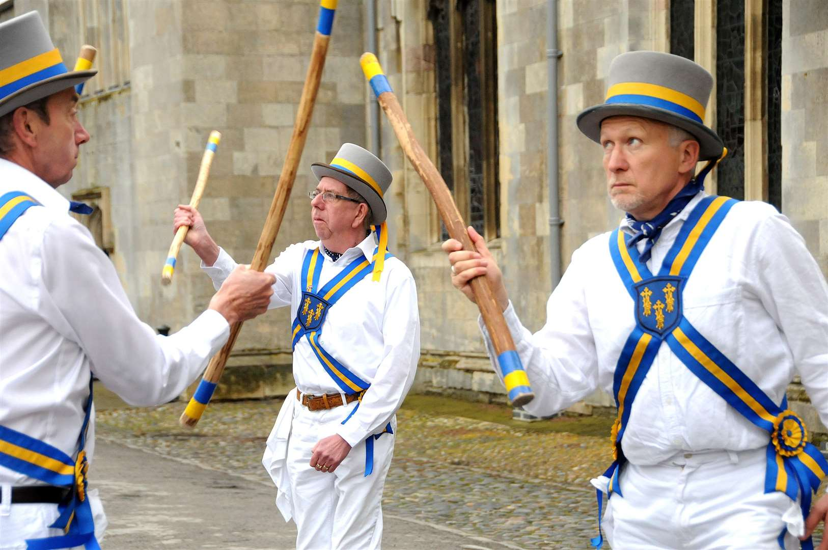 Morris men of The King's Morris dance in the Saturday Market Place before taking part in a procession which sees the May Garland carried around Lynn's pedestrian precinct on the first day of May. www.lynnnews.co.uk/buyaphoto. (4112919)