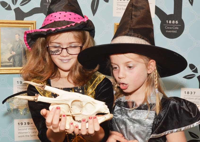 Holkham Halloween'Isabella Edgley-Dixon (7) and Eve Norris (6) come face-to-face with the bleached skull of a Muntjac deer