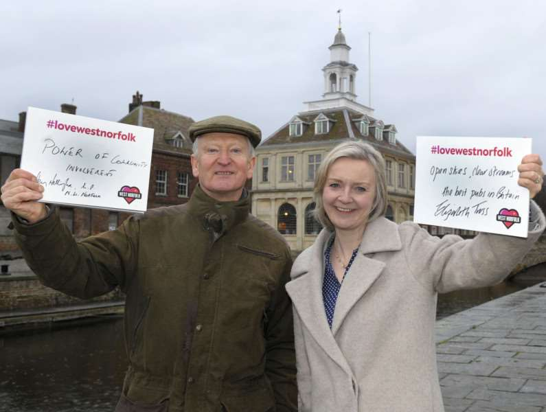 Love West Norfolk Campaign Launch at the King's Lynn Custom House and Bank House'Loving West Norfolk LtoR, Sir Henry Bellingham and Elizabeth Truss