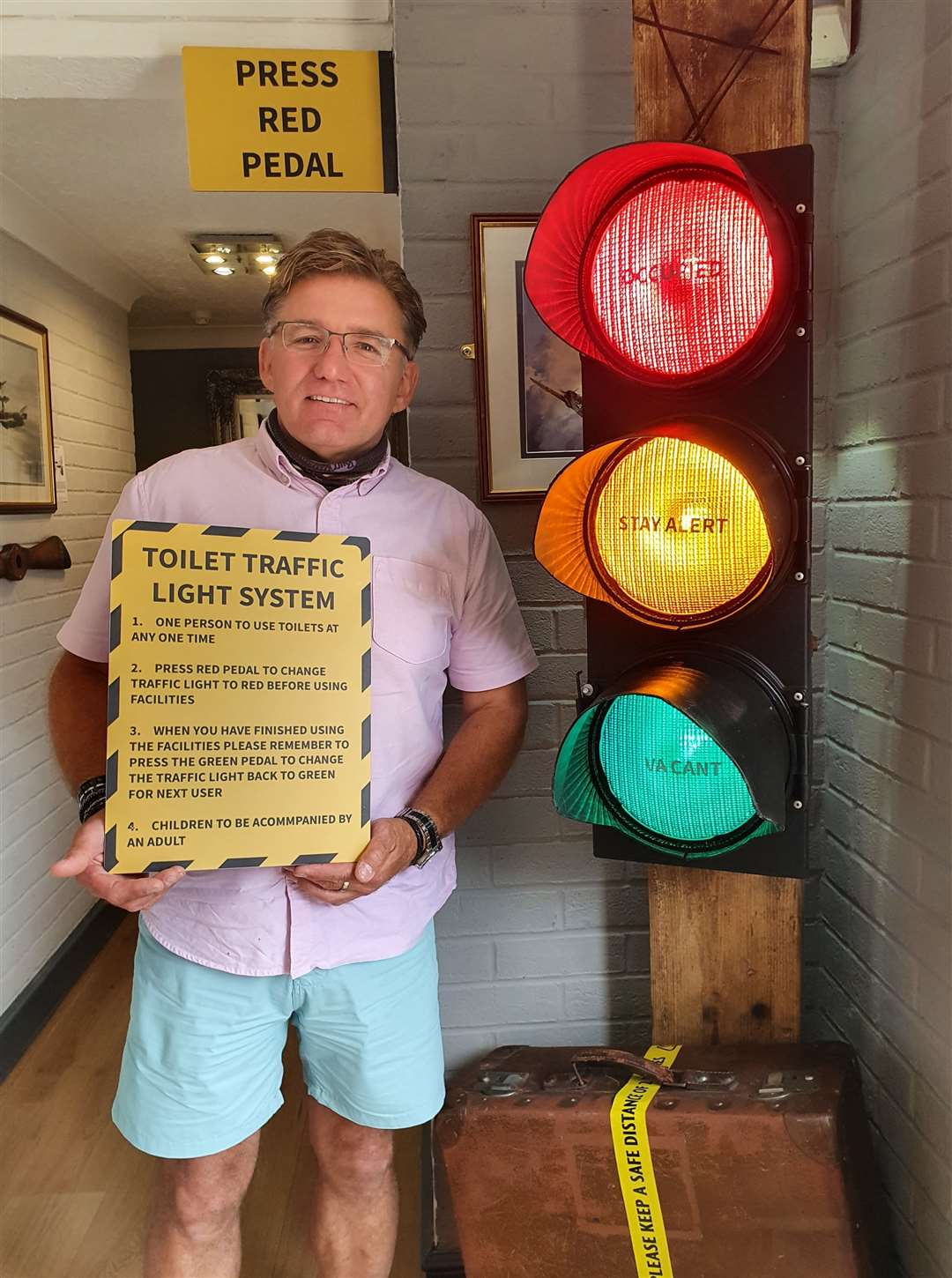 The Sculthorpe Aviator pub has a new social distancing toilet traffic lights system for the reopening. Picture: SUBMITTED (37930230)