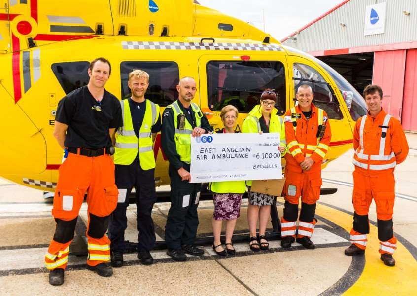 Presenting cheque to the East Anglian Air Ambulance