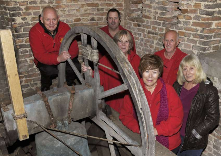 Terrington St Clement Parish Church, Bellringing Group in the Bell Tower. 'LtoR, Peter Bird, Paul Stone, Debra McGowan, Jane Mallott, Barry Mallott and one of the Competition winners Maggie Morton