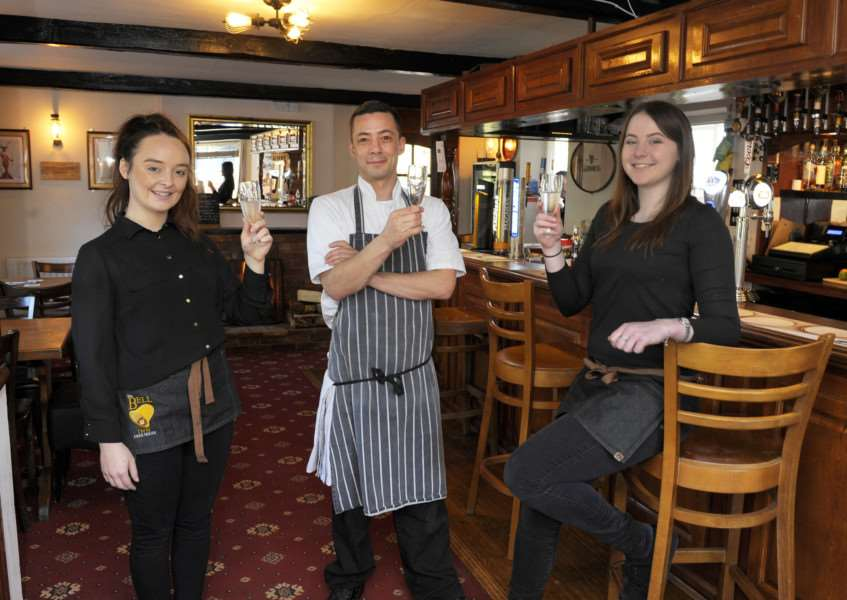 The Bell Inn at Denver, Opening and Re-launch of their new restaurant.'Some of the team in bar area, LtoR, Amy Moulder (waitress), John Burton (Chef), Jasmine Kenna (Front of House Manager)