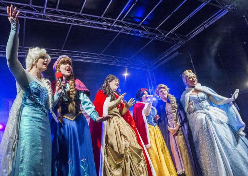 "Scenes from the King�""s Lynn Chirstman Lights Switch On 2017 - The Disney Princesses on stage."