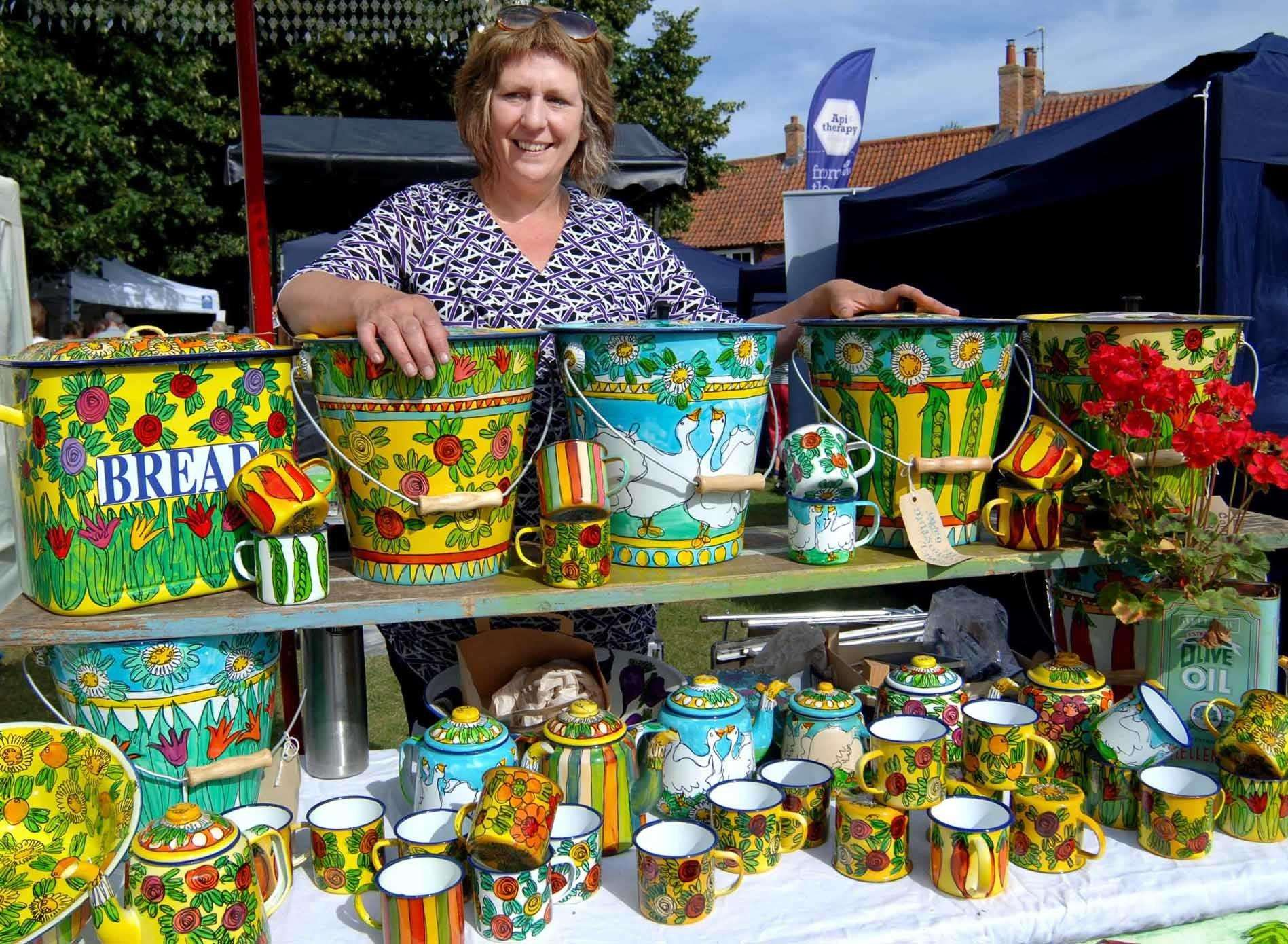 Burnham Market Craft Fair..Ky Rice's colourful enamelware was a popular attraction . ... (2881895)