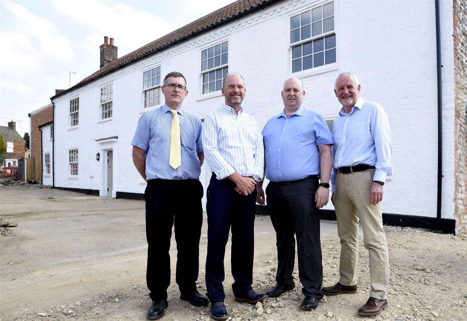 Tour of Freebridge development at old Rampant Horse at Gayton. Left to right, Andrew Mowbray, Tony Hall, Alex Dixon and Andy Walder (1935621)