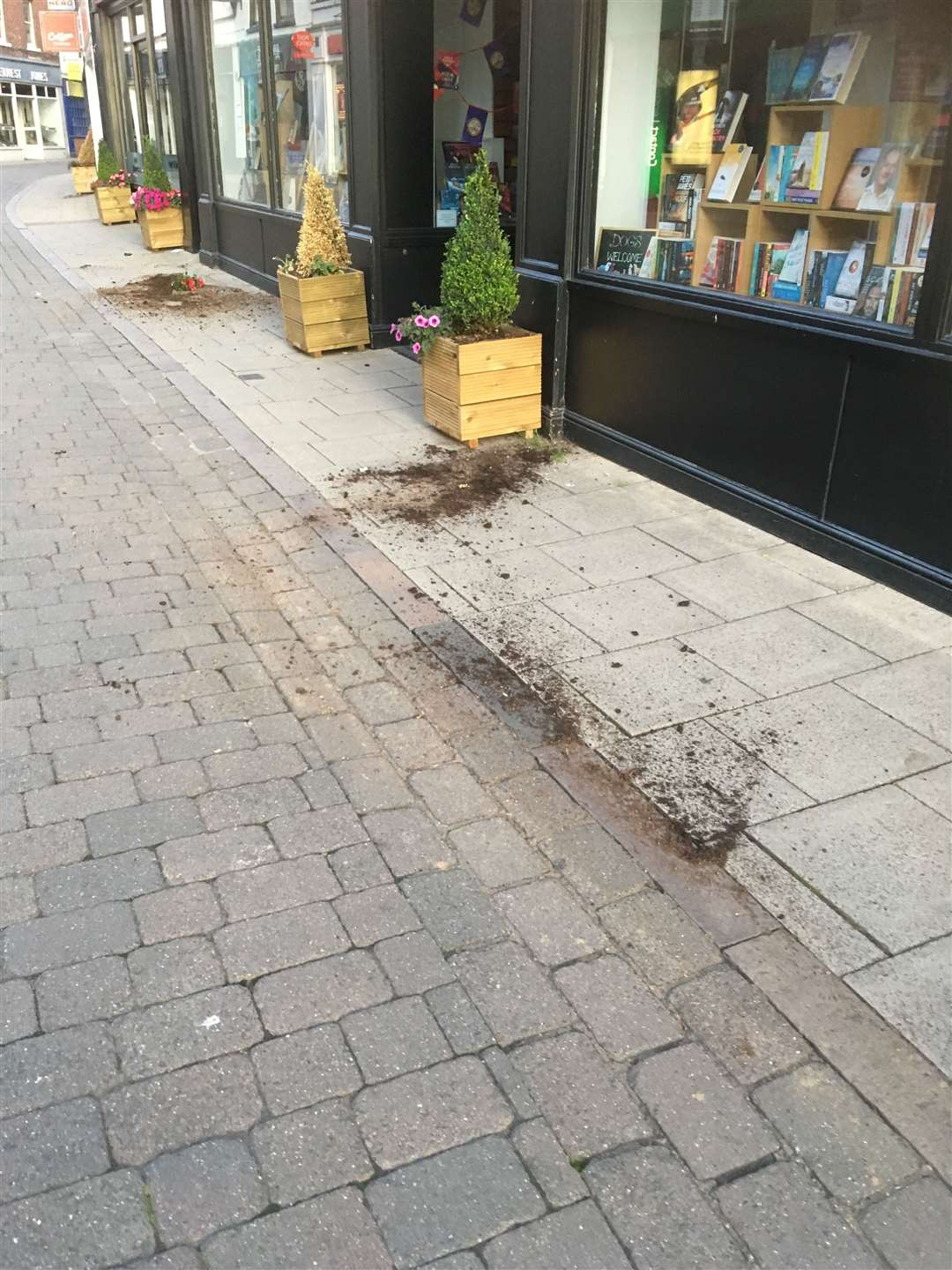 The scene on Friday, August 23 after planters had been vandalised