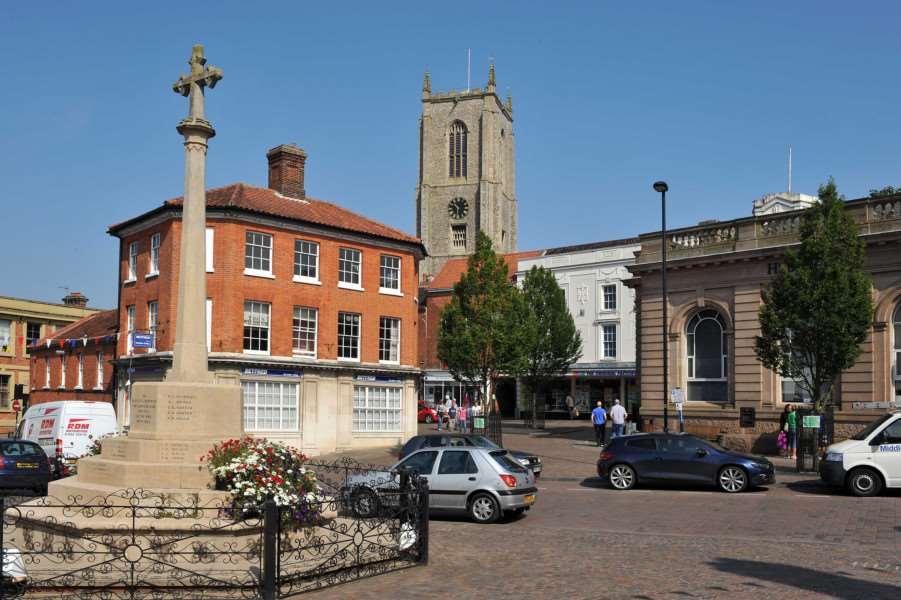 Fakenham - the 115 ft tower of the Parish Chuch (St Peter and St Paul) dominates the market place.