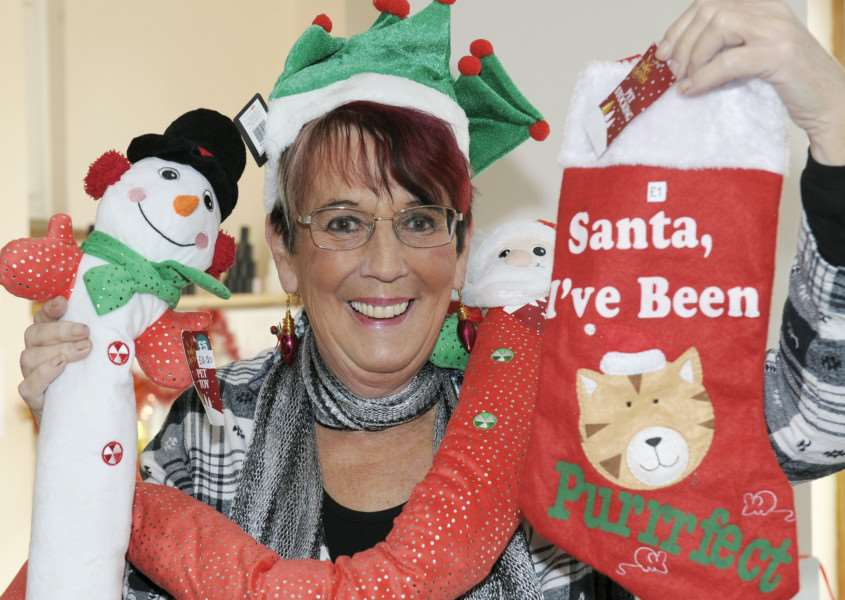 Christmas Fair at Downham Market Methodist Church.'Sandra Warby with some of the items at the fair