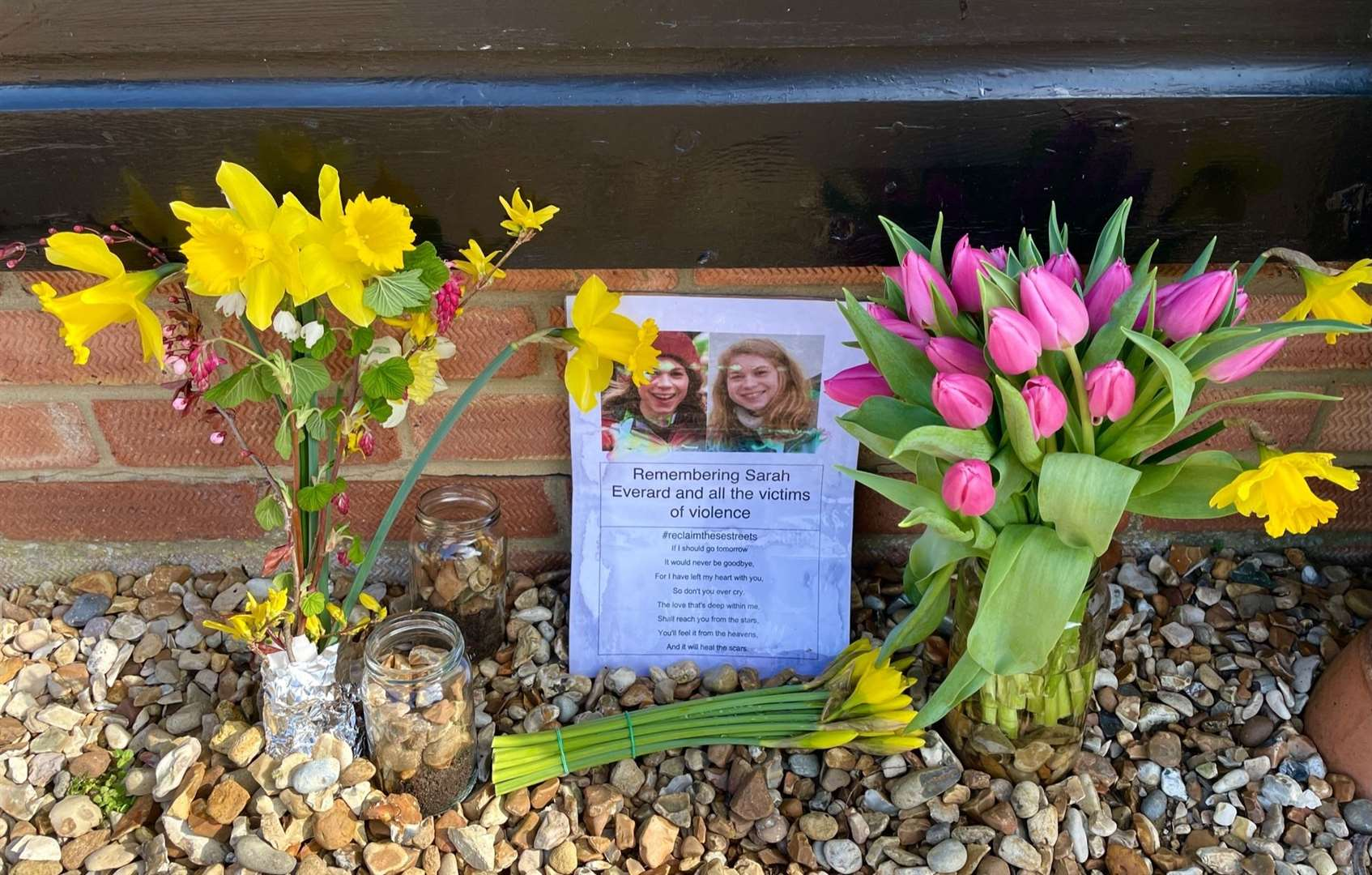 Flowers outside of North Wootton Village Hall in memory of Sarah Everard (45160587)