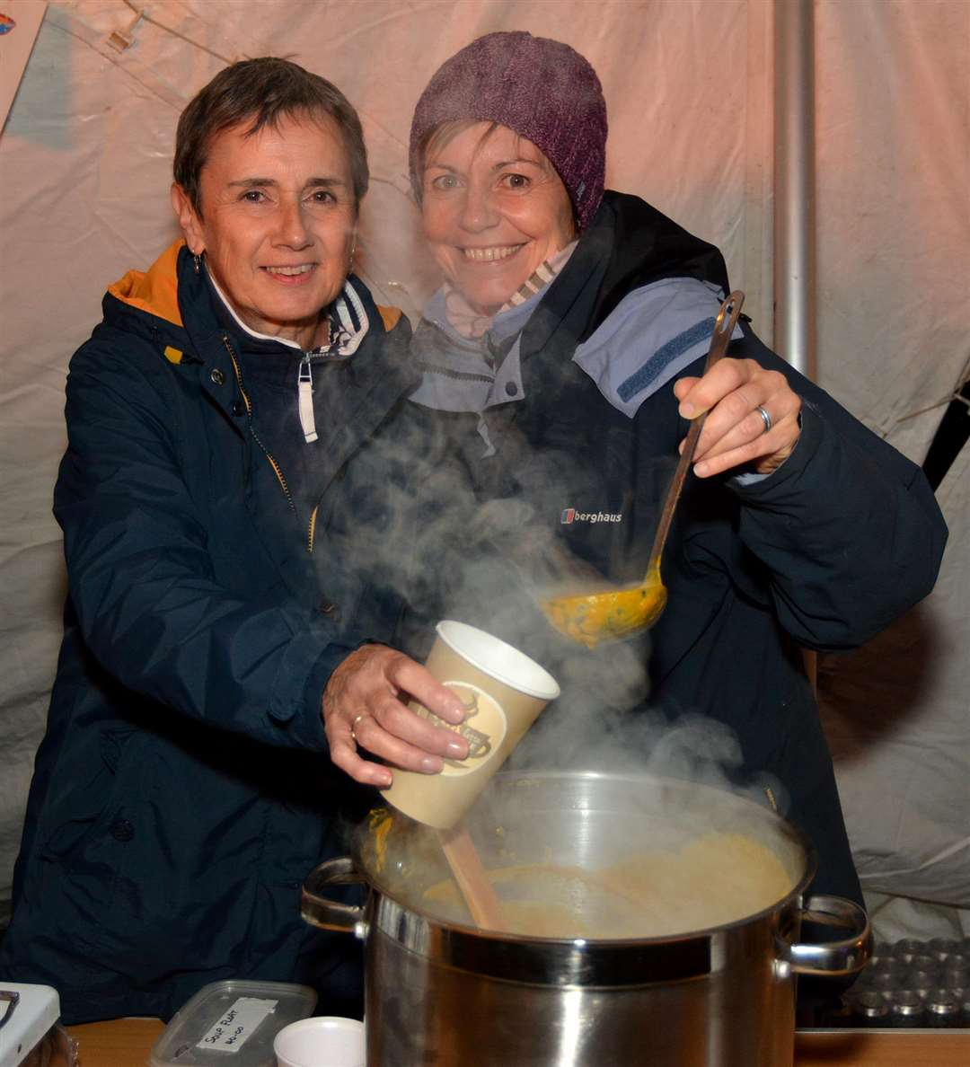 Sheila Clarke, left, and Caroline Howarth ladle out another cupful of pumpkin soup (5089343)