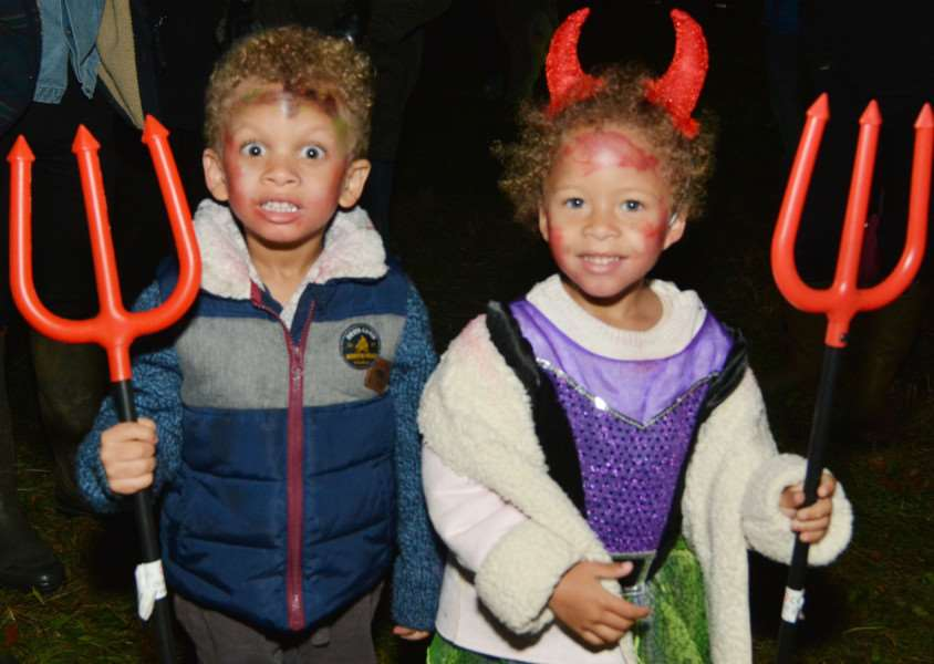 West Acre Bonfire'Twins Toby and Holly Deasley came as twin devils