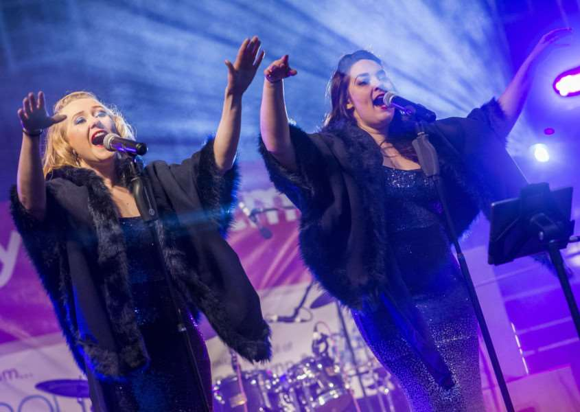 "Scenes from the King�""s Lynn Chirstman Lights Switch On 2017 - The Facinettes on stage."