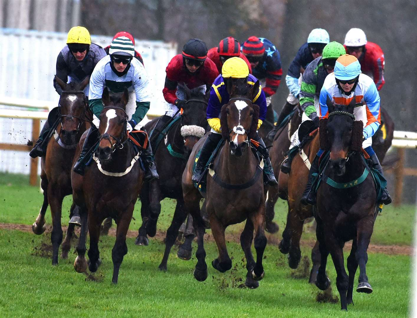 Action from the St.Andrews Day Race Meeting at Fakenham Racecourse