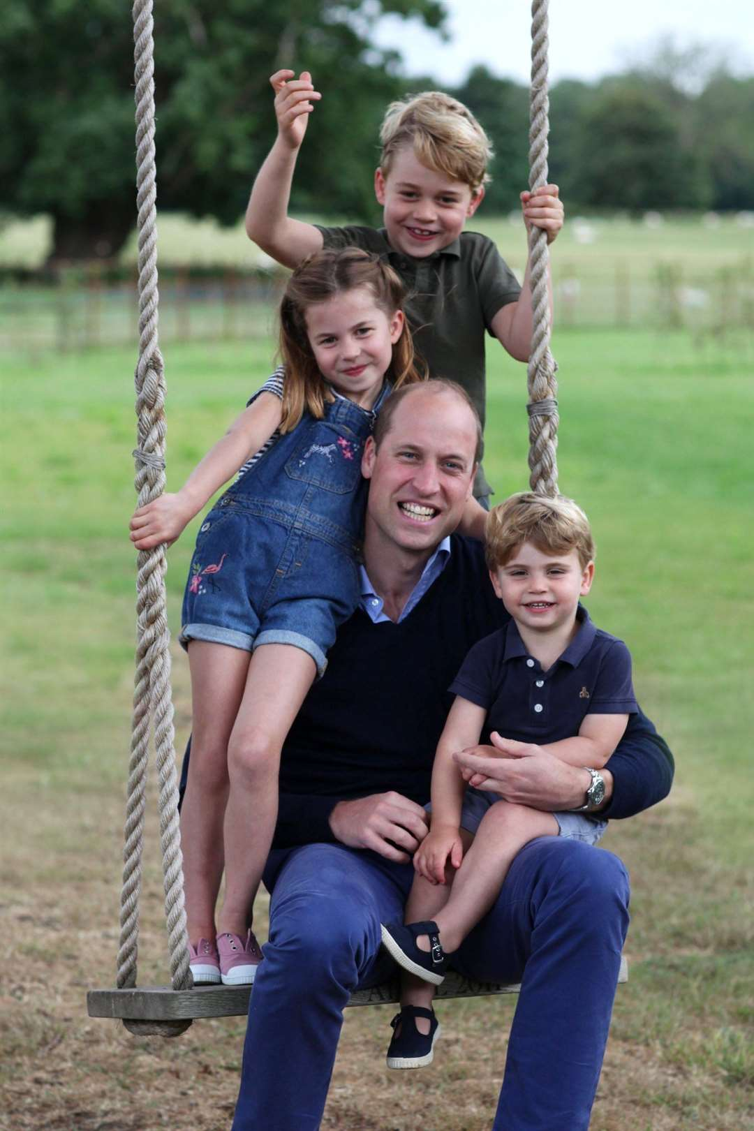 The Duke and Duchess of Cambridge are very pleased to share a new picture of The Duke with Prince George, Princess Charlotte and Prince Louis ahead of The Duke's birthday. Picture: DUCHESS OF CAMBRIDGE/TWITTER (37021282)
