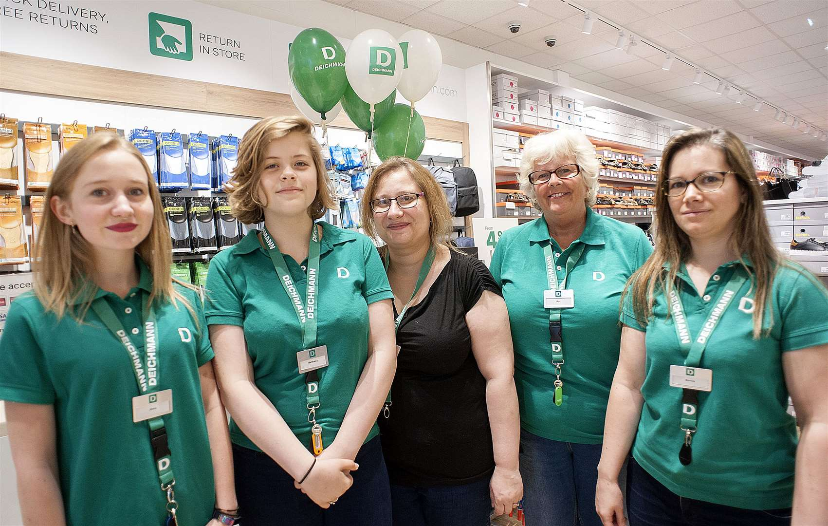 Opening of the Re-Furbished King's Lynn Deichmann Store.Pictured Third from the left Clare Scotney (Store Manager) with staff Sam Pratas. Pat Leman.Jess Surdesland. Bethany Cook.. (14858537)