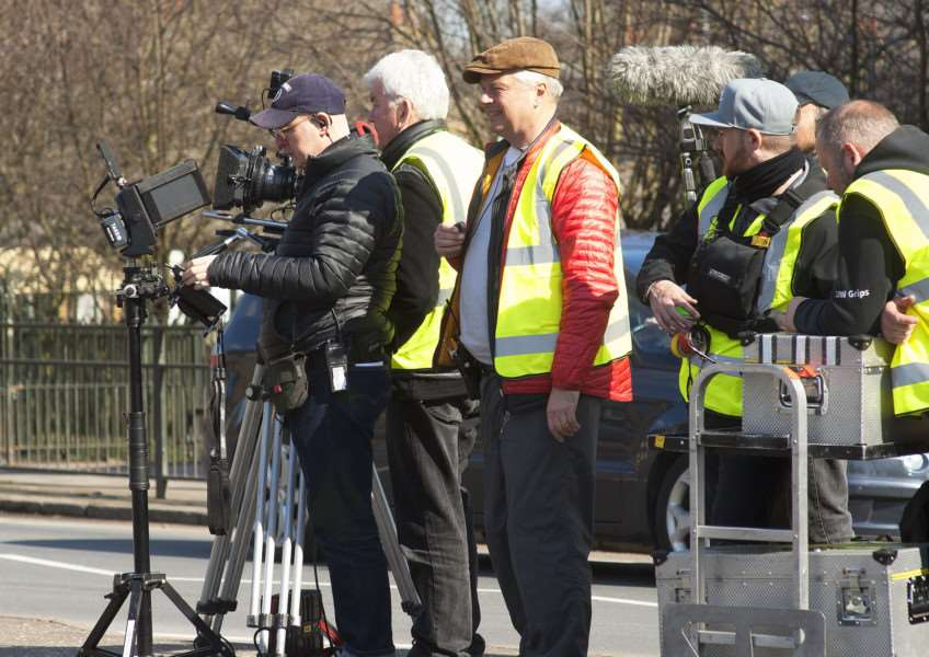 Actor Neil Morrissey filming in King's Lynn.Pictured Film Crew in King's Lynn.