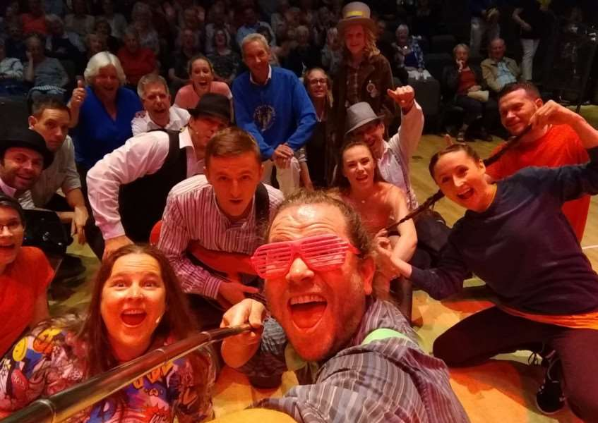 A selfie taken by the Demon Barbers at the end of their concert at the Corn Exchange in King's Lynn. Included in the picture are morris dancers of the King's Morris who featured in a pre-show performance.