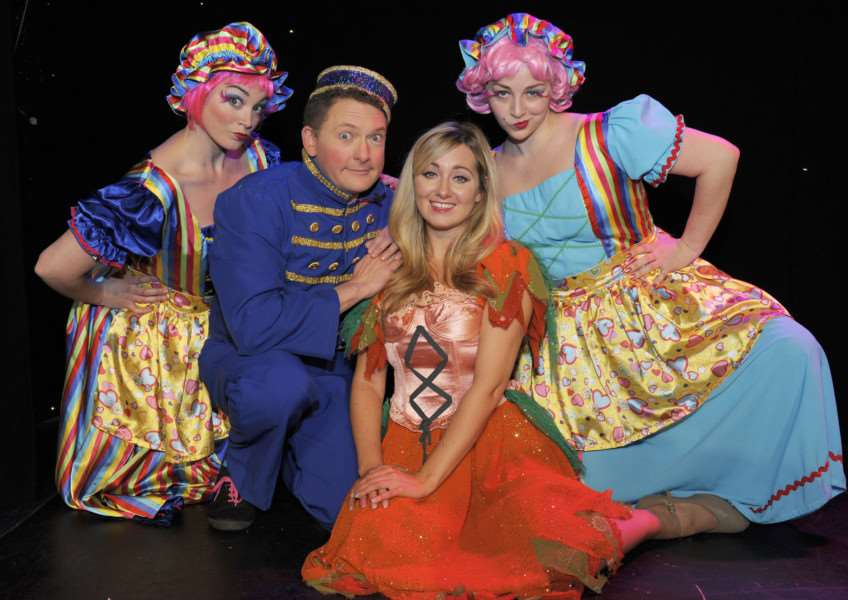 Princess Theatre Cinderella Panto launch at Hunstanton 'LtoR, Elise Whyte (Ugly Sister), Andy Eastwood (Buttons), Helen Farrell (Cinderella), Seren Whyte (Ugly Sister)
