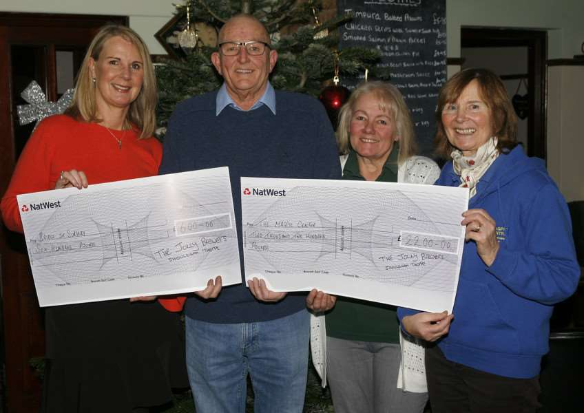 Cheque presentation to Bridge Street Surgery and the Magpie Centre, West Norfolk Riding for the Disabled Association, from Jolly Brewers of Shouldham Thorpe.'From left, practice manager of Bridge Street Surgery Michelle Clarke, fundraiser Brian Nelson, Jolly Brewers landlady Patricia Fry and chairwoman of West Norfolk RDA Rosie O'Grady.'Photo: SUBMITTED.