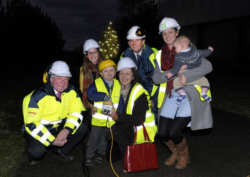Greenyard Frozen Hardwick Ind Estate four-year-old James Brown has been chosen by Greenyard Frozen to switch on the star which is displayed each year from the top of one of their buildings.'Ready to Switch on the Star, James Brown (4) with his Granny Alison Talbot (Front Centre), along with From LtoR, Nigel Terry (UK Managing Director ), Laura Schade (Greenyard), Neil Winner (UK Operations Director), Jessica and Arthur (6 months) Brown.