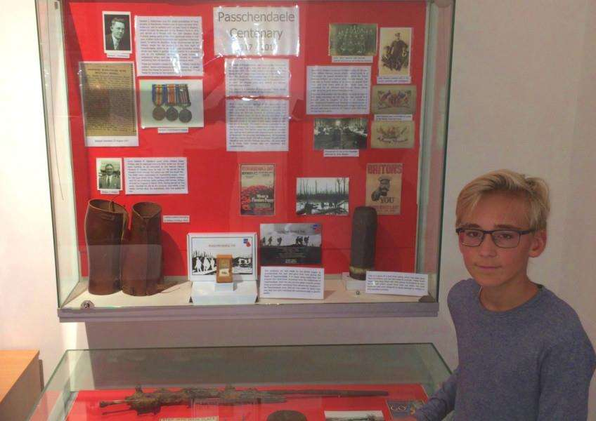 Downham Market Academy student Adam Hutchinson with his display on the centenary of Passchendaele at Discover Downham Heritage Centre. Photo: SUBMITTED.