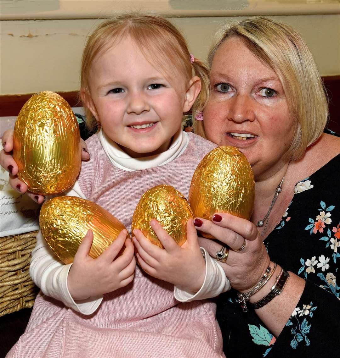 Easter Eggstravaganza at Marham Village Hall iao ongoing fundraising for the VH Disabled Toilets etc...Organiser Tina Hawkins with her grandaughter Jessica Vincent. (8318803)